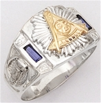 Past Master ring Square front with 2 synthetic sapphires , Compass & Quadrant with Sun - Sterling Si