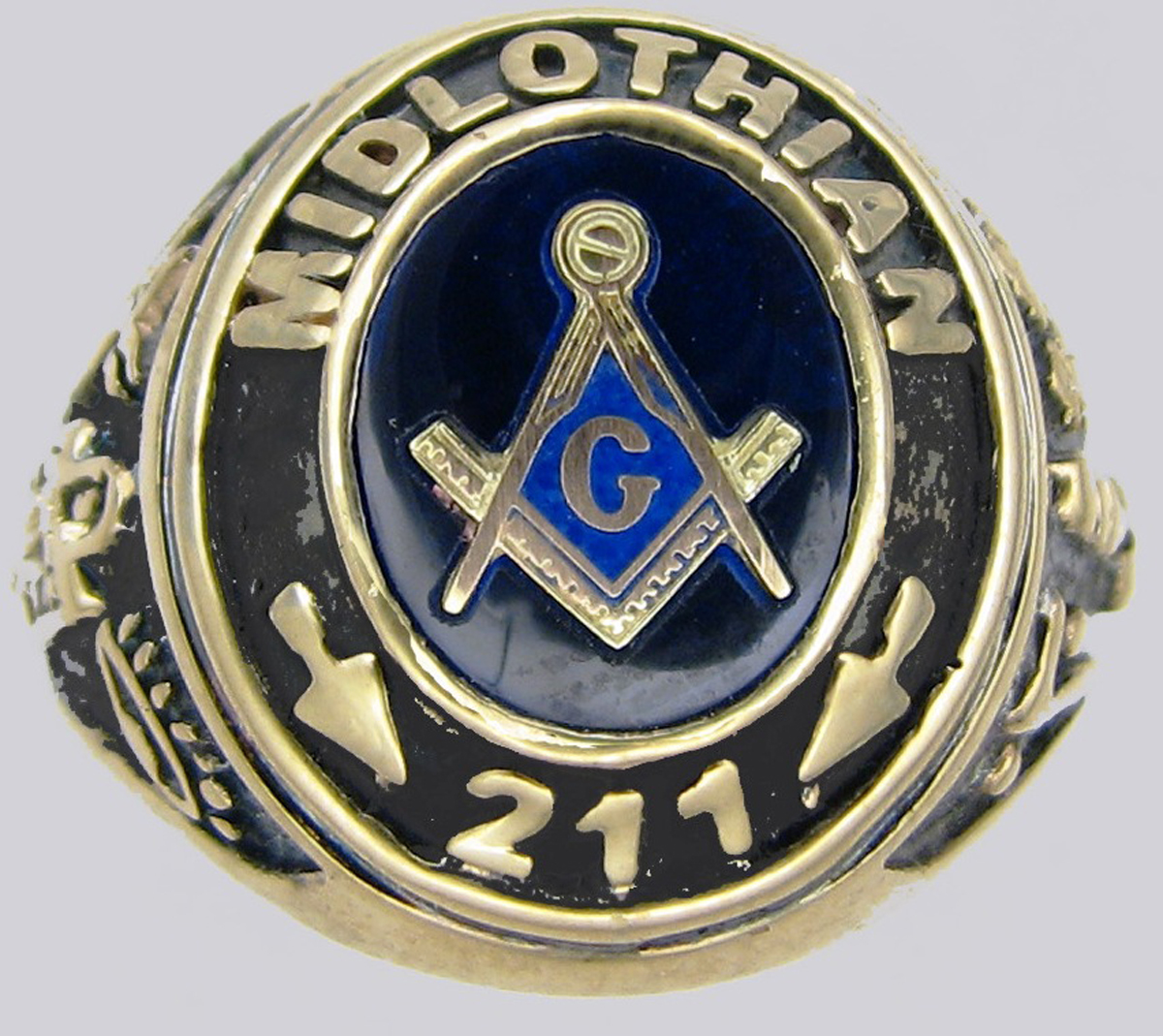 Custom Gold Masonic Lodge Ring 11010