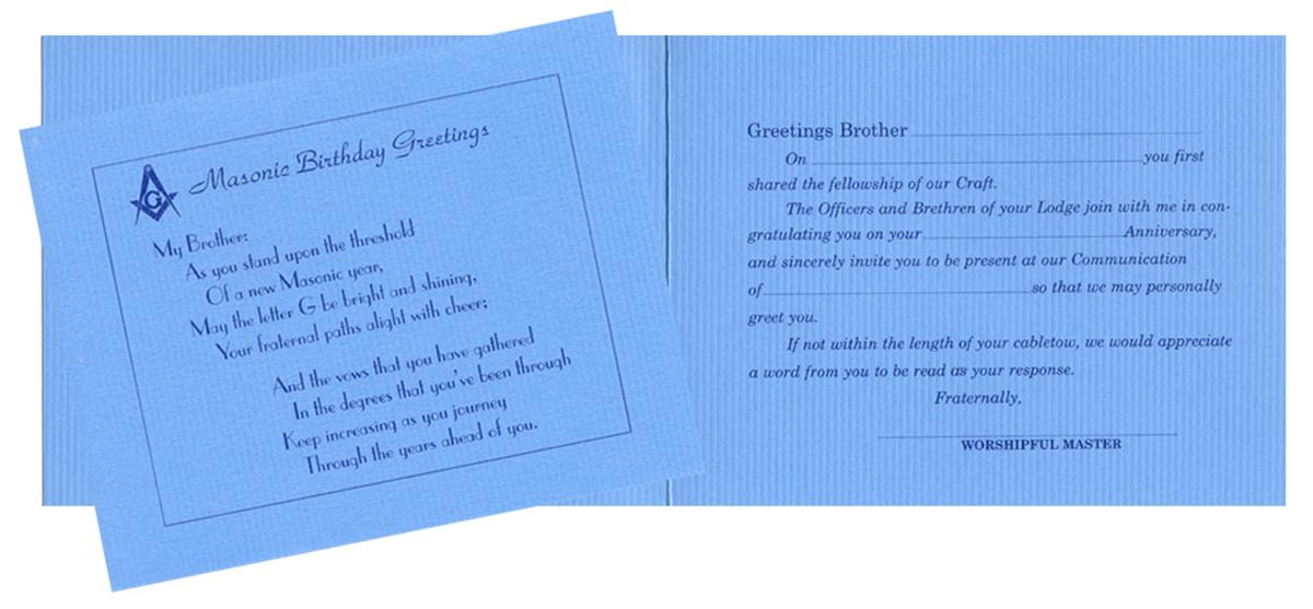 Blue Masonic Birthday Card with White Envelop