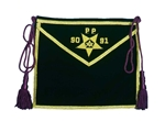 Purple Velvet Patron Apron with gilt bullion embroidery