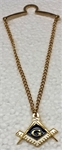Masonic Tie Chain in gold tone with Masonic drop