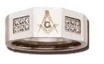 Masonic Stainless Steel 10MM Ring with Crystal stones.