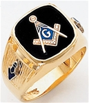 "Masonic Rings Square stone with S&C and ""G"" - 10KYG"