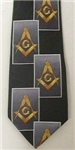 Masonic tie Black with Square & Compasses staggered with yellow emblems