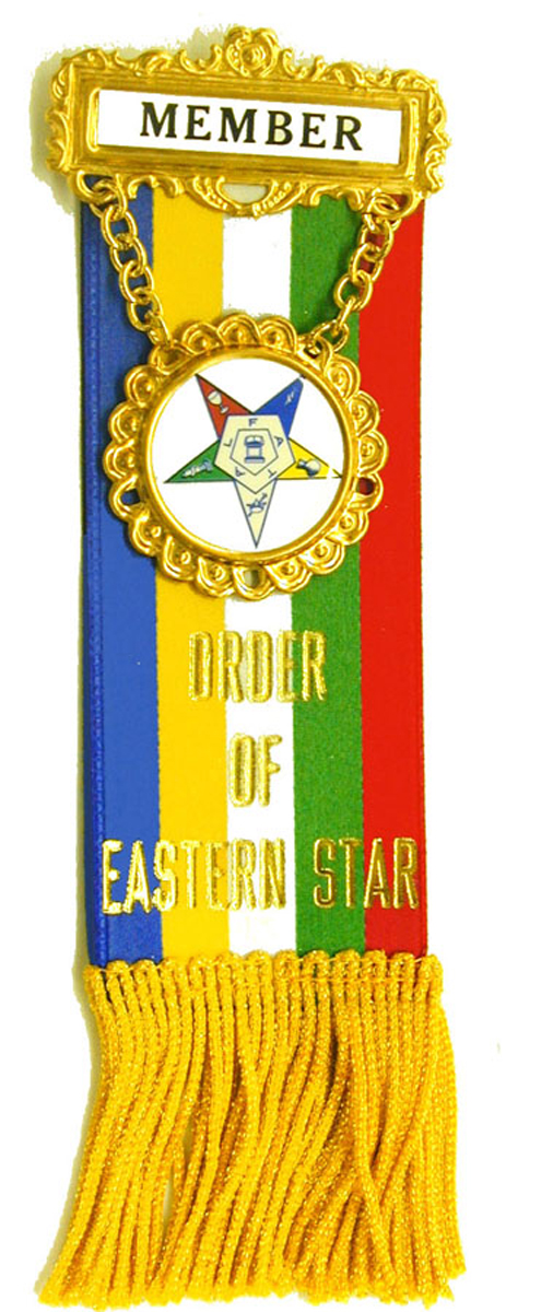 O.E.S. Reversible Stock Ribbon Badge with Non-Tarnish Fringe