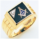 "Masonic rings with Square stone with S&C and ""G""- 10K YG"