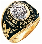 Past Master Class ring Style Round with Words - 10K Y&WG