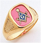"Masonic ring Square stone & rounded edges with S&C and ""G"" - 10KYG"
