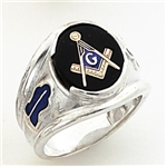 "Master Mason ring Round stone with S&C and ""G"" - Sterling Silver"
