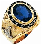 Past Master ring Round stone with Words - 10K YG
