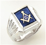 "Master Mason ring with Square stone with S&C and ""G""- Sterling Silver"