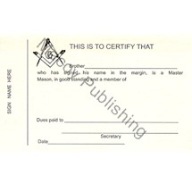 Masonic Traveling Dues Cards (pack of 10)