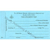 Masonic Widow's Card.  Pack of 6