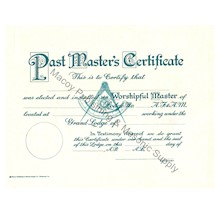 Masonic Past Master Certificate AF&AM