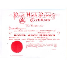 Royal Arch Masons Past High Priest's Certificate