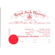 Royal Arch Mason Honoree Member Certificate