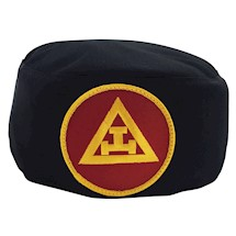 Royal Arch Black Skull Cap yellow red patch