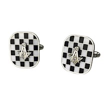 Masonic Cuff Links - Mother of Pearl - Silvertone