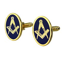 Oval Masonic Cuff Links wblue background