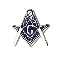 Masonic Lapel Pin Silvertone Blue Enamel
