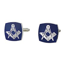 Square Masonic Cuff Links - Silvertone