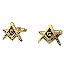 Classic Masonic Cuff Links Goldtone Blue