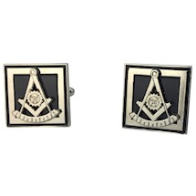 Past Master Cuff Links - Silver tone - Black