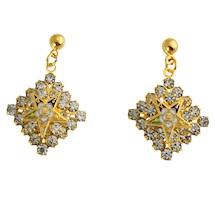 Eastern Star rhinestone dangle pierced earrings