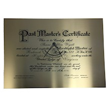 Meritorious Certificate on Brass Plate and Hardwood Frame