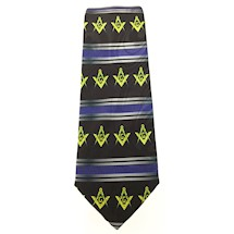 Masonic tie black S&C with yellow emblems