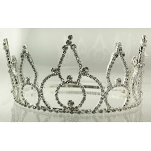 Rhinestone Crown Silvertone ALL White Rhinestones