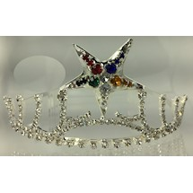 Eastern Star Tiara in Silver tone with colored star
