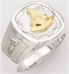 Past Master ring Square front & rounded edges - Square,Compass & Quadrant with Sun - Sterling Silver