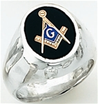"Masonic rings Round stone with S&C and ""G"" Sterling Silver"