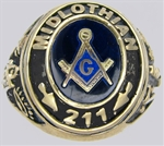 Custom Sterling Silver Masonic Lodge Ring 11010SS