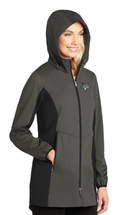 Ladies Hooded Soft Shell Jacket with emblem