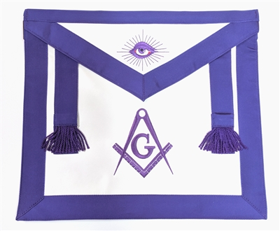 Purple Satin Master Mason Apron - Elastic Belt