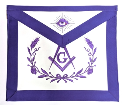 Purple Leather Master Mason Apron w/ Wreath - Elastic Belt