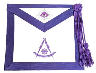 Past Master Leather Apron Purple w Elastic Belt / Cord and tassel