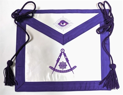 Past Master Satin Apron Purple w Cord and Tassel