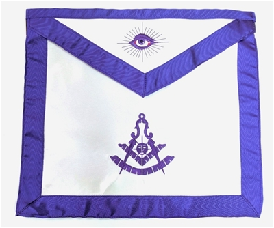 Past Master w/ Square Satin Apron Purple w Elastic Belt