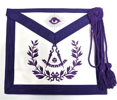 Leather Purple PM apron with Wreath - Elastic Belt and Cord/Tassel