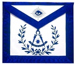 Masonic Past Master Royal Blue Satin  Apron Emblem with Wreath