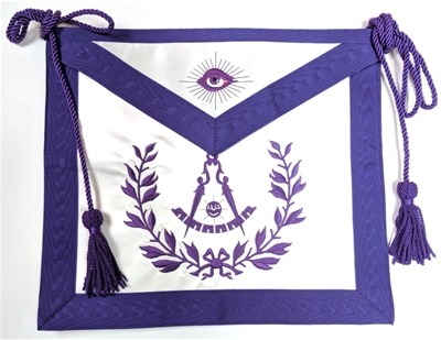 Purple Satin PM apron with Wreath - Cord and Tassel