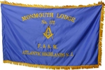 Masonic Blue Satin Flag with embroidered Emblem ONly