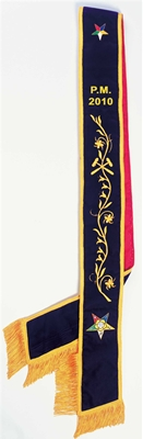 OES Past Matron velvet sash with vinework