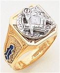 Gold Masonic Ring Solid Back 3174