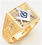Gold Masonic Ring Solid Back 3187SBL