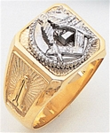 Gold Masonic Ring Solid Back 3334