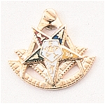 Combination Eastern Star Patron / Past Master Lapel Button in 14K YG with colored enamel